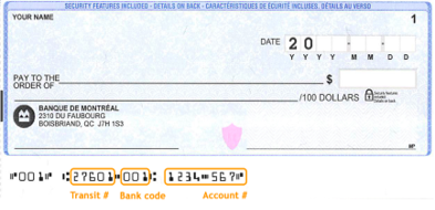 Cheque example highlighting the transit number, bank code and account number.
